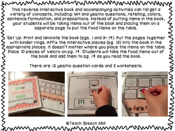 Fill the Thanksgiving Table Reverse Interactive Book