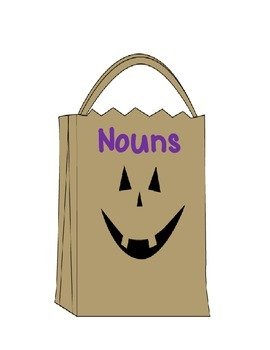 Fill the Treat Bag Nouns-Pronouns-Proper Nouns Literacy Game CC Aligned 3rd