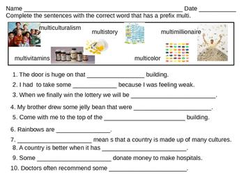 Fill the blanks prefix multi