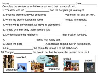 Fill the blanks prefix un 1