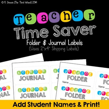 Back to School Fillable Folder and Journal Labels