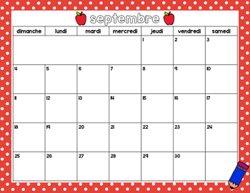 Fillable French Calendar