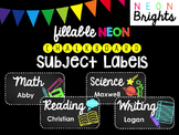 Fillable NEON Chalkboard Subject Label PACK (Avery 2x4)