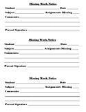 Fillable/Printable Reusable Student Missing Work Notification