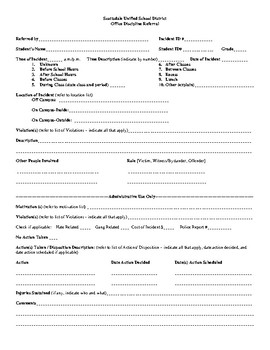 Fillable Savable Printable Behavior tracking and Office Referral Form