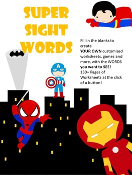 Editable / Fillable Sight Word Superheroes - Add your own