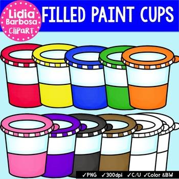 Filled Paint Cups {Clip Art for Teachers}