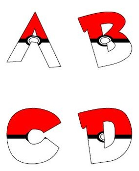 Filled Pokemon Alphabet Letters (Pokeballs) #2