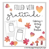 Filled with Gratitude; Fall Thankfulness Coloring Activity and Writing Page Free