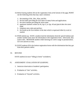 Filling In Forms Lesson Plan + Worksheet