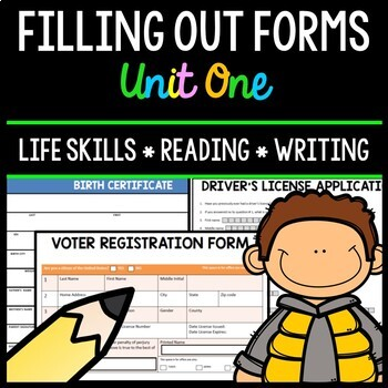 Filling Out Forms - Life Skills - Reading - Writing - Special Education - Unit 1