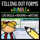 Filling Out Forms - Life Skills - Reading - Writing - Special Education - BUNDLE