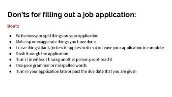 Filling Out Job Application Lesson