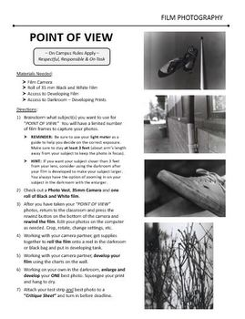 Film/Darkroom Photography Lesson - POINT OF VIEW - Directions & Samples