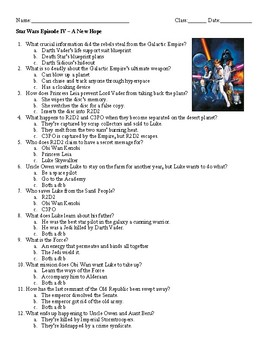Film Guide Questions Star Wars Episode Iv A New Hope By Ela Extraordinaire