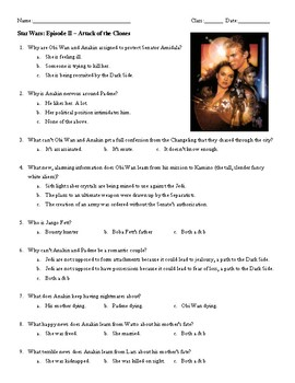 Film Guide Questions: Star Wars II - Attack of the Clones