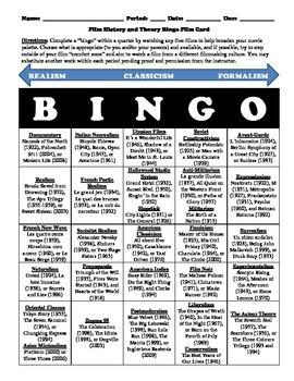 Film History and Film Theory Bingo Game Card