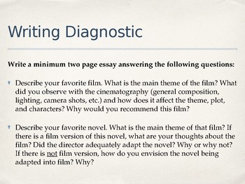 Film & Lit Class Introduction + Diagnostic Writing Prompt PPT
