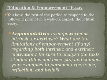 Film & Lit Education & Empowerment Unit Essay Prompt