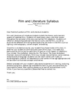 Film & Lit Syllabus + R Rated Film Permission