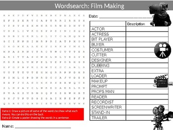 Film Making Wordsearch Sheet Starter Activity Keywords Cover Drama Theatre