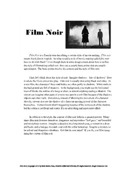 Film Noir for Elementary and Middle School GATE - Project, Reading, Writing
