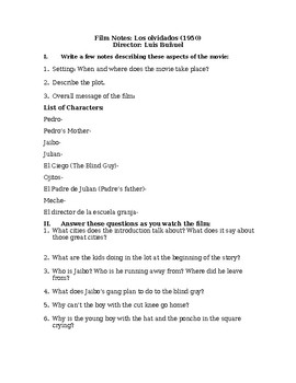 """Film Notes/ Viewing Guide- """"Los olvidados"""" (English)"""