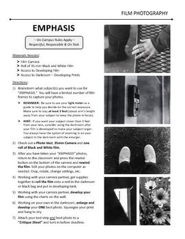 Film/Darkroom Photography Lesson - EMPHASIS - Directions & Samples