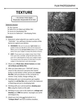 Film/Darkroom Photography Lesson - TEXTURE - Directions & Samples