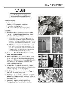 Film/Darkroom Photography Lesson - VALUE - Directions & Samples
