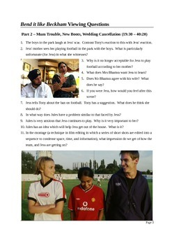 Film Studies: Bend it Like Beckham - Detailed Viewing Questions