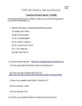 "Film Studies ""Saving Private Ryan"" Topic #2 ""History and Film"""