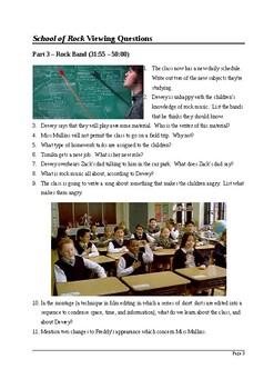 Film Studies: School of Rock - Detailed Viewing Questions