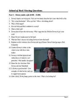 Film Studies: School of Rock - Detailed Viewing Questions