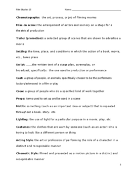 Film Studies Terms and Definitions sheets