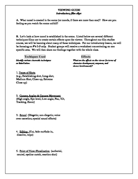 Film Studies Viewing Guide