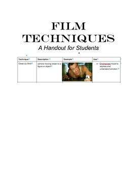 Film Technique Handout for Students