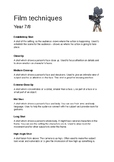 Film Techniques definitions and worksheet