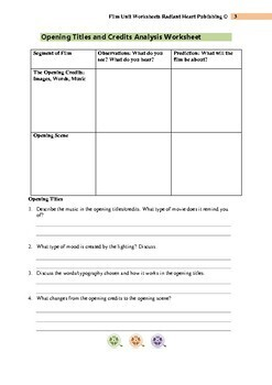 Film Unit Worksheets for ANY FILM Radiant Heart Publishing