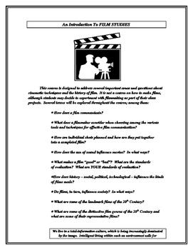 Film Worksheet:  An Intro to Film Studies w/Glossary of Fi