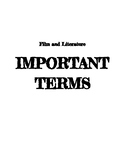 Film and Literature Important Terms Guide and KEY
