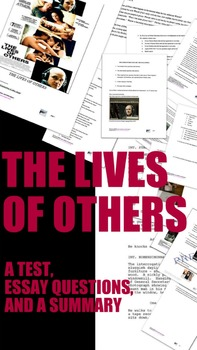 Film study: The Lives of Others (test, essay questions, and summary)
