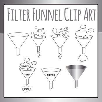 Filter Funnel / Mental Filter Clip Art Set for Commercial Use