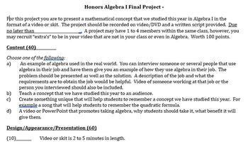 Final Algebra I Video Project