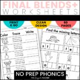 NO PREP Phonics Worksheets Final Blends+ Word Work BUNDLE