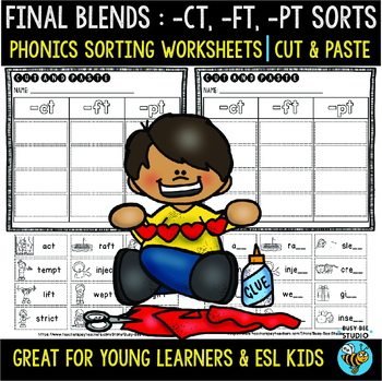 Final Blends Sort (-ct, -ft, -pt) | Cut and Paste Worksheets