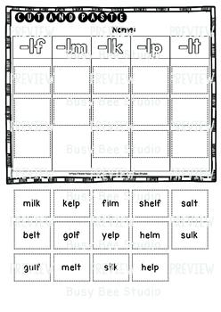 Final Blends Sort (-lf, -lm, -lk, -lp, -lt) | Cut and Paste Worksheets