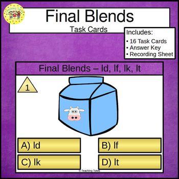 Final Blends Task Cards ld lf lt