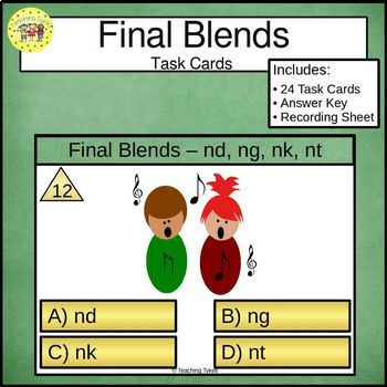 Final Blends Task Cards nd ng nk nt