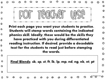 Final Blends {Stamp It} Word Work [Reading] Station Center Printable